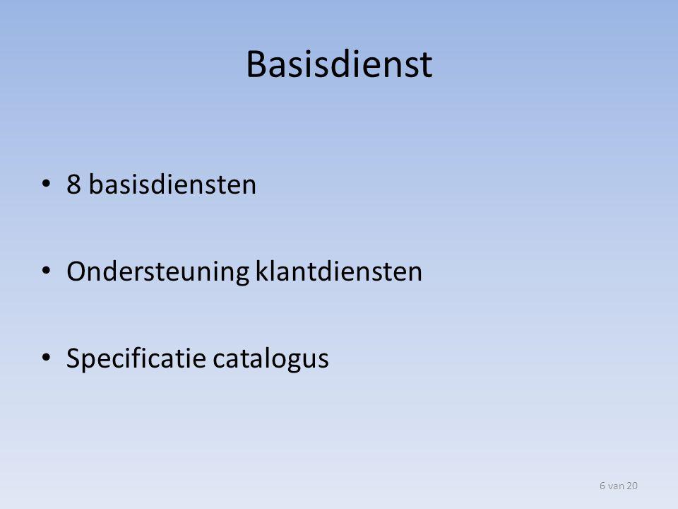 Basisdienst 8 basisdiensten Ondersteuning klantdiensten