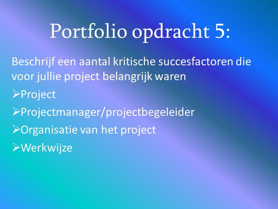 Portfolio opdracht 5: Beschrijf een aantal kritische succesfactoren die voor jullie project belangrijk waren.