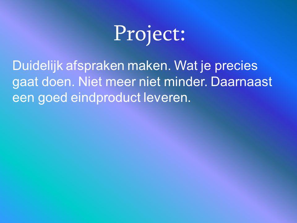 Project: Duidelijk afspraken maken. Wat je precies gaat doen.