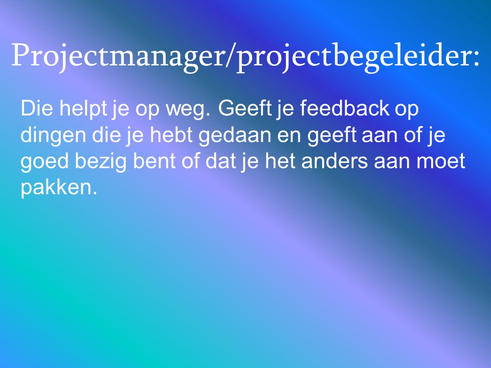 Projectmanager/projectbegeleider: