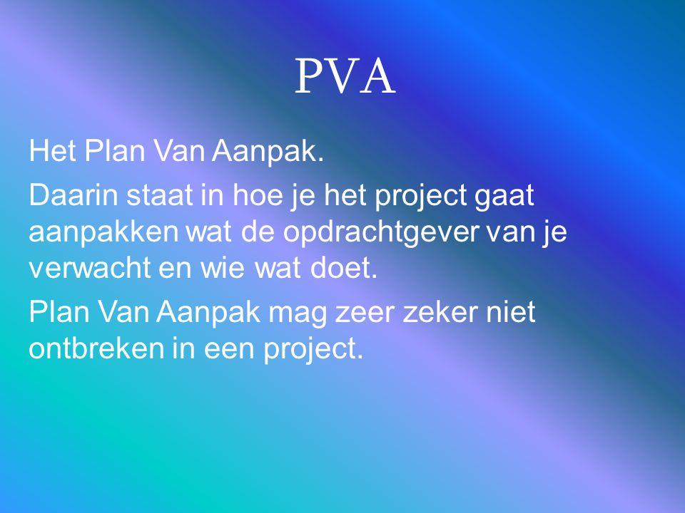 PVA Het Plan Van Aanpak. Daarin staat in hoe je het project gaat aanpakken wat de opdrachtgever van je verwacht en wie wat doet.