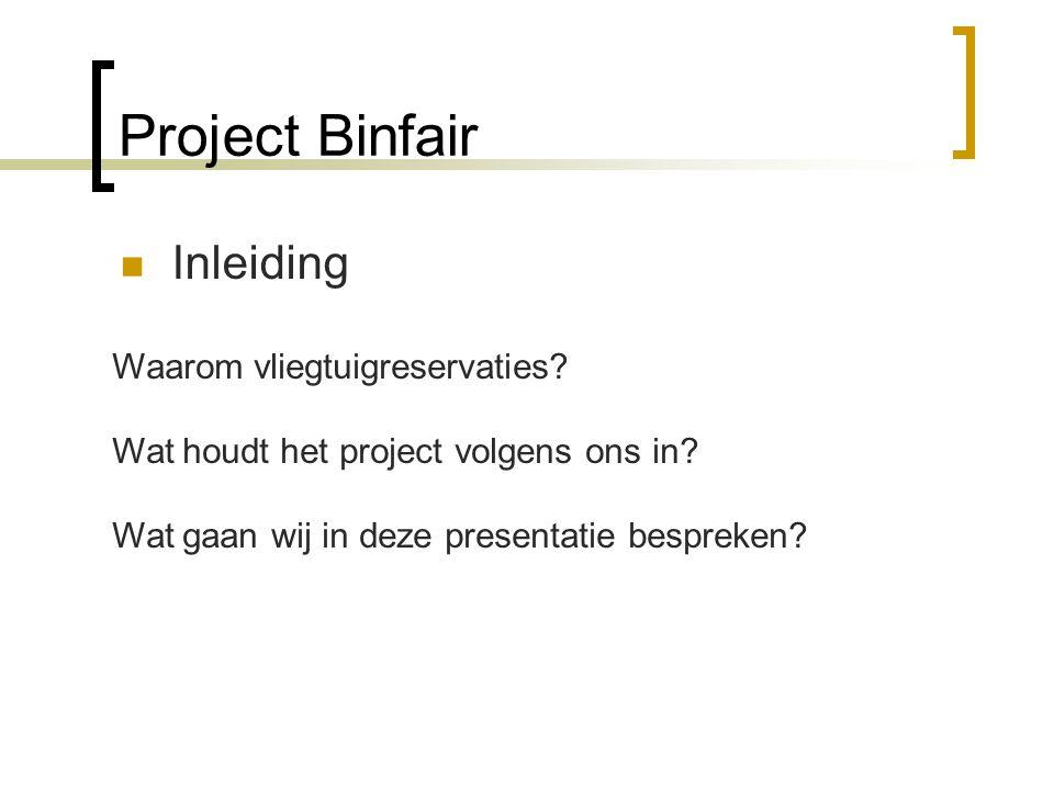 Project Binfair Inleiding Waarom vliegtuigreservaties