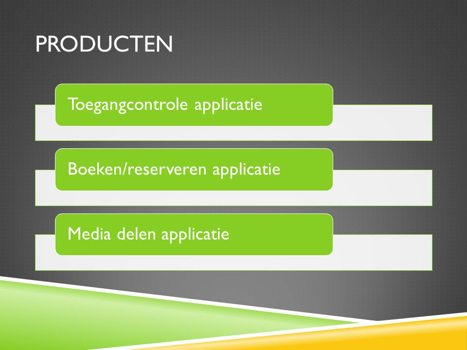Producten Toegangcontrole applicatie Boeken/reserveren applicatie