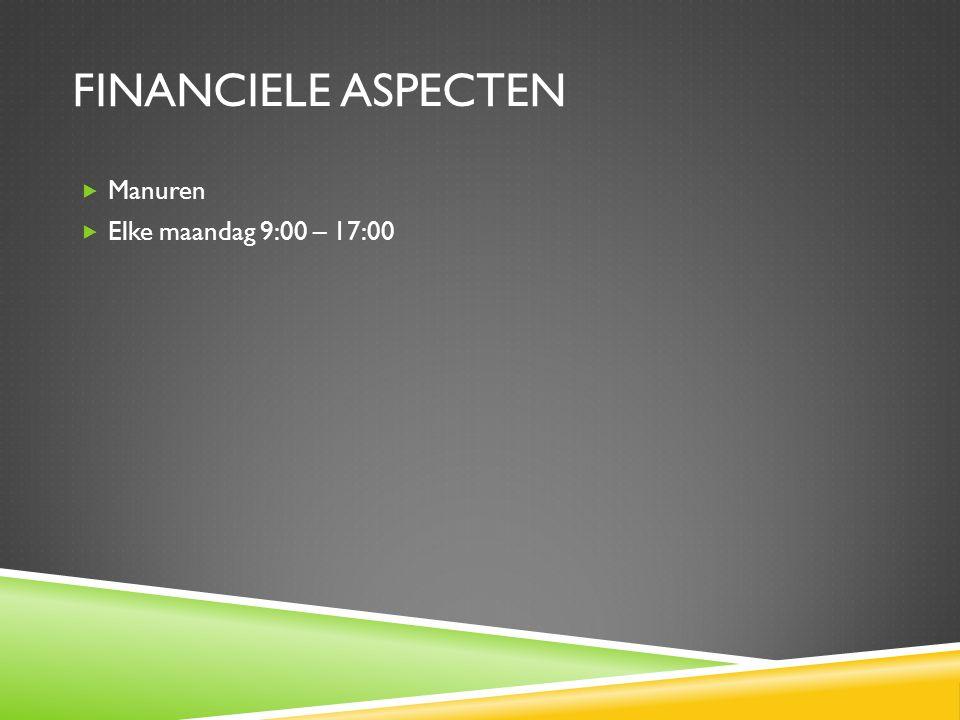 Financiele aspecten Manuren Elke maandag 9:00 – 17:00