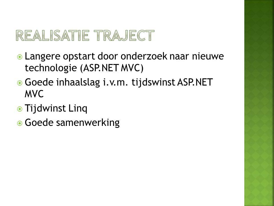 Realisatie traject Langere opstart door onderzoek naar nieuwe technologie (ASP.NET MVC) Goede inhaalslag i.v.m. tijdswinst ASP.NET MVC.