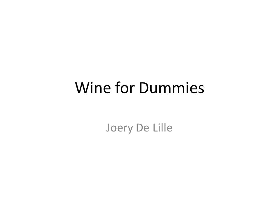 Wine for Dummies Joery De Lille