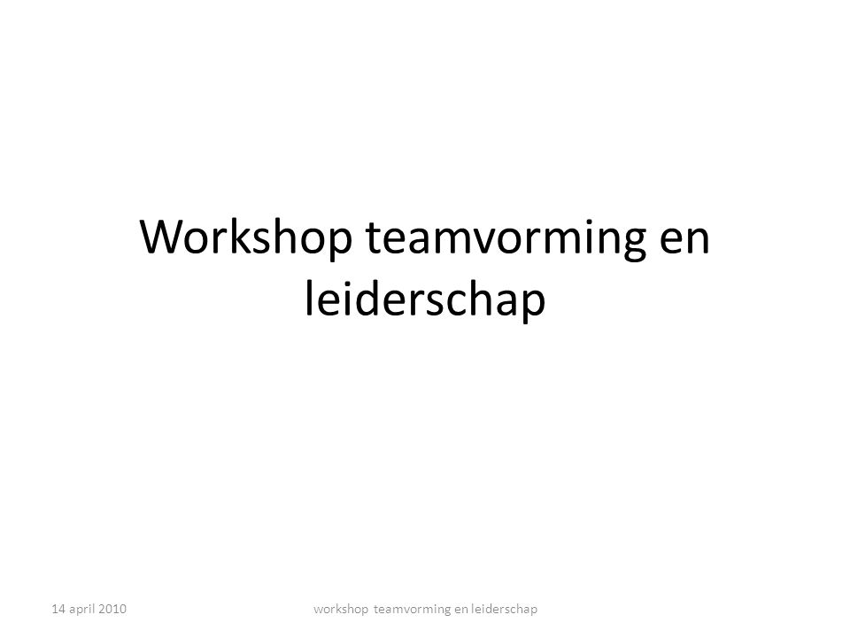 Workshop teamvorming en leiderschap