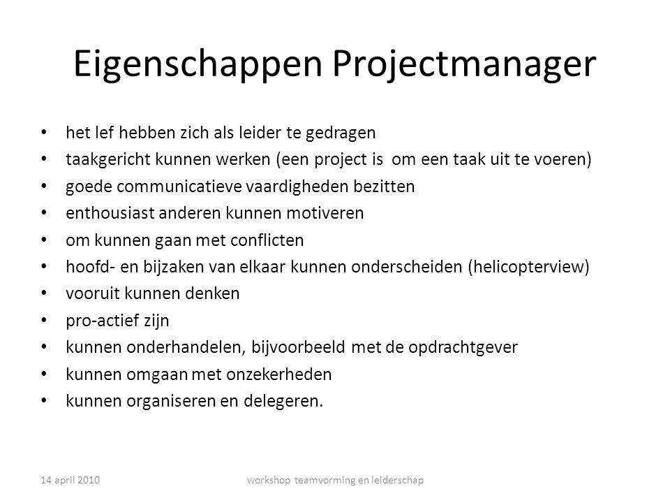 Eigenschappen Projectmanager