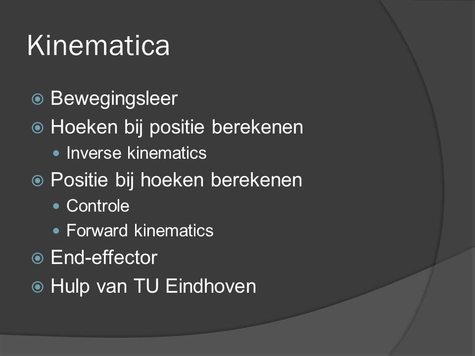 Kinematica Bewegingsleer Hoeken bij positie berekenen