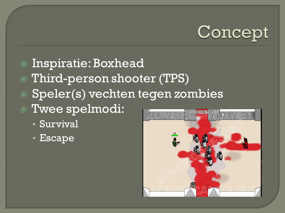 Concept Inspiratie: Boxhead Third-person shooter (TPS)