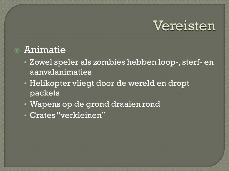 Vereisten Animatie. Zowel speler als zombies hebben loop-, sterf- en aanvalanimaties. Helikopter vliegt door de wereld en dropt packets.