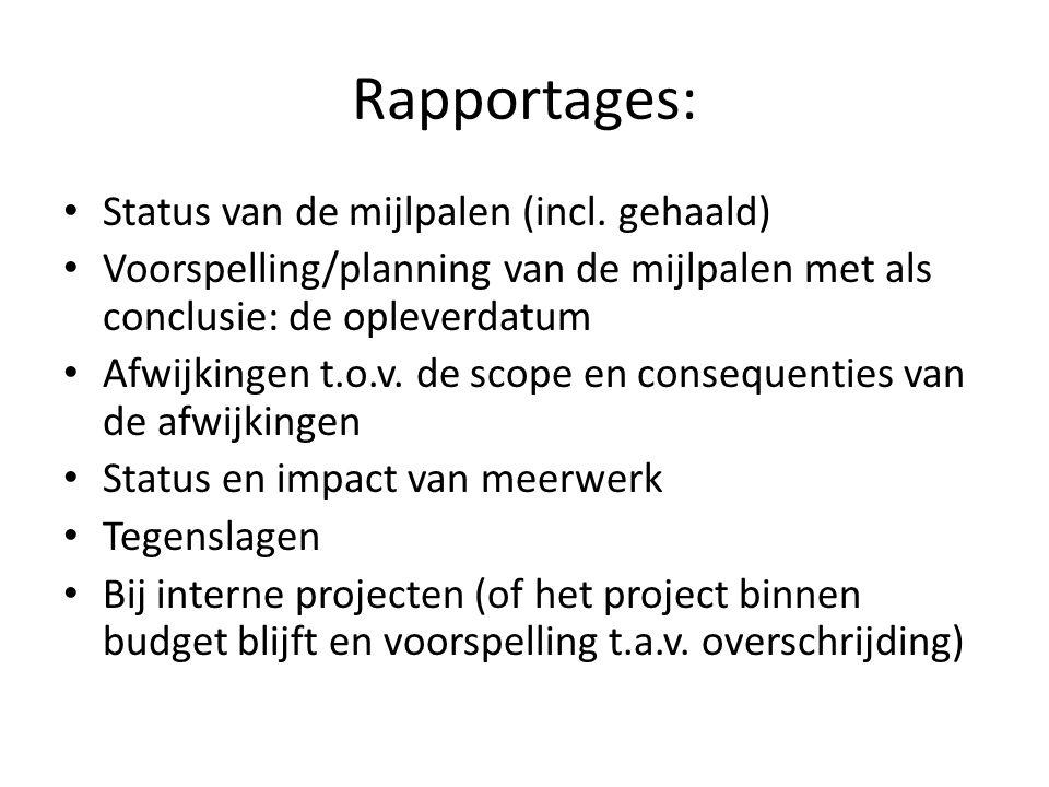 Rapportages: Status van de mijlpalen (incl. gehaald)