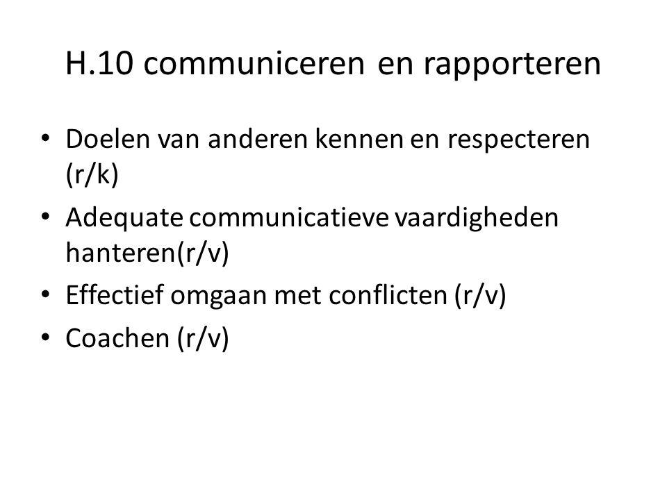 H.10 communiceren en rapporteren