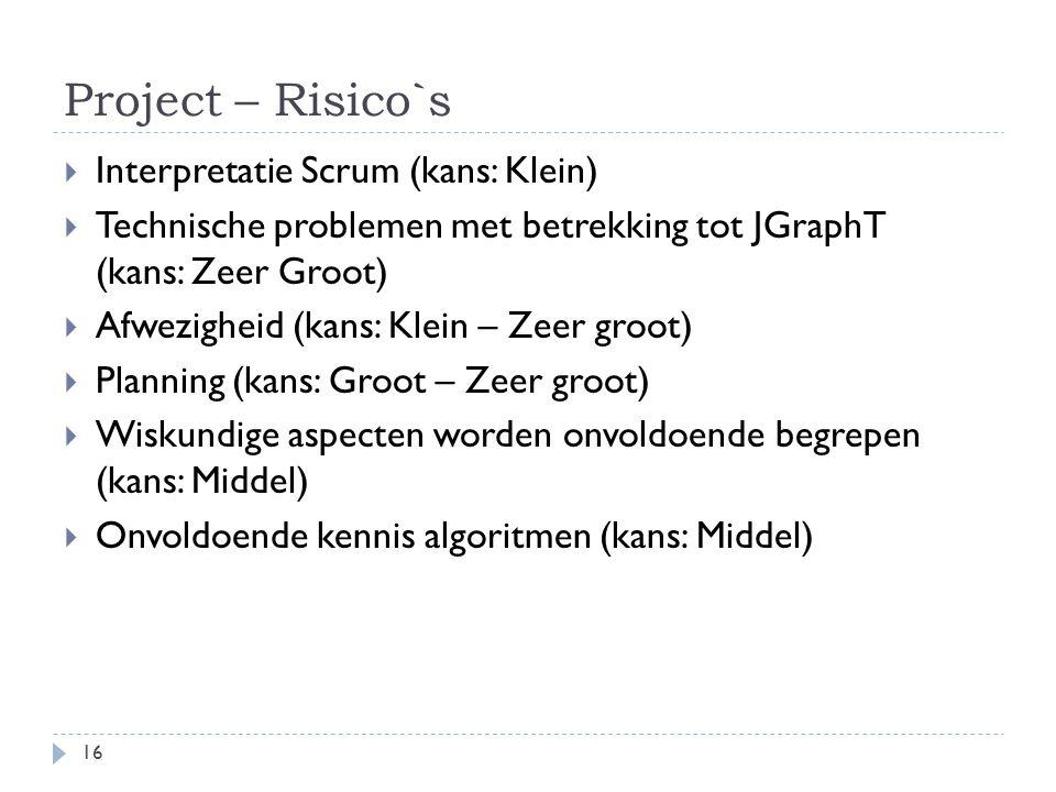 Project – Risico`s Interpretatie Scrum (kans: Klein)