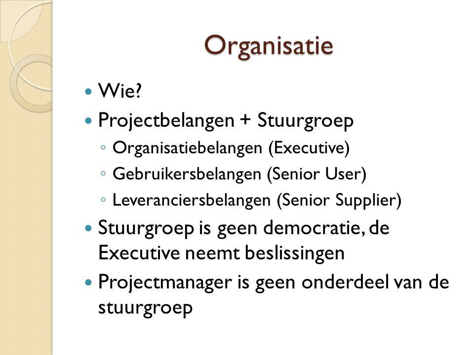 Organisatie Wie Projectbelangen + Stuurgroep