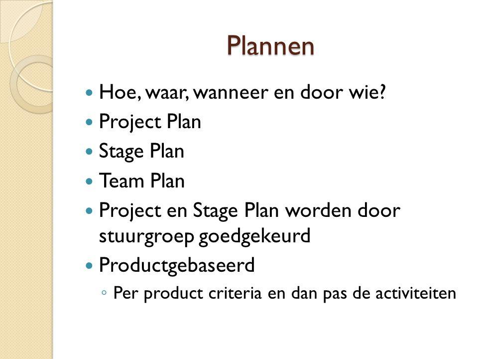 Plannen Hoe, waar, wanneer en door wie Project Plan Stage Plan