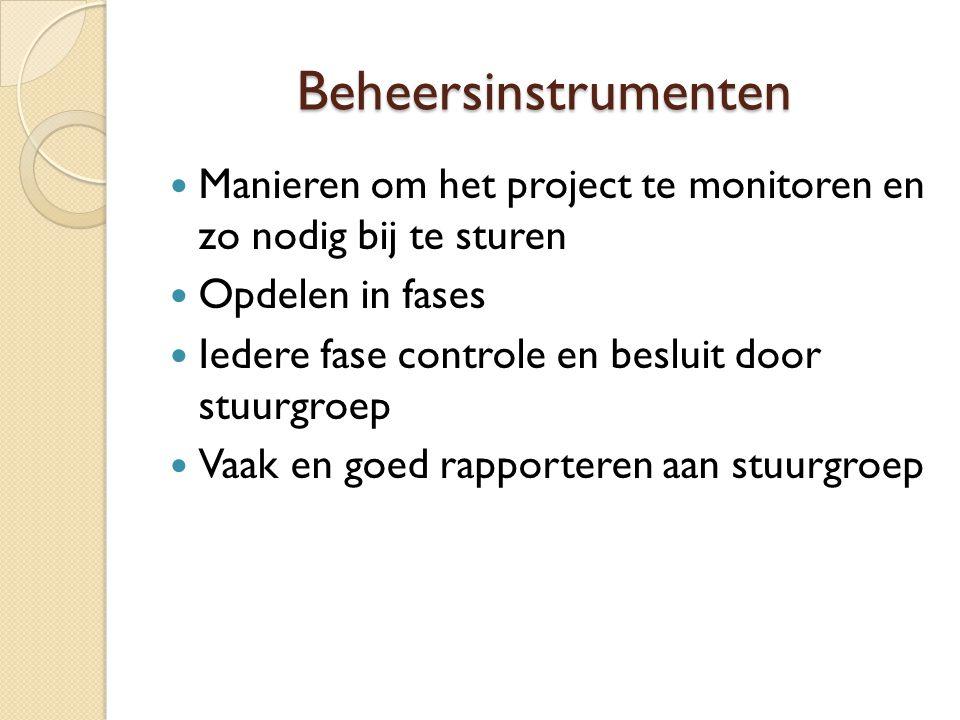 Beheersinstrumenten Manieren om het project te monitoren en zo nodig bij te sturen. Opdelen in fases.