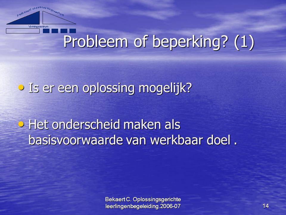 Probleem of beperking (1)