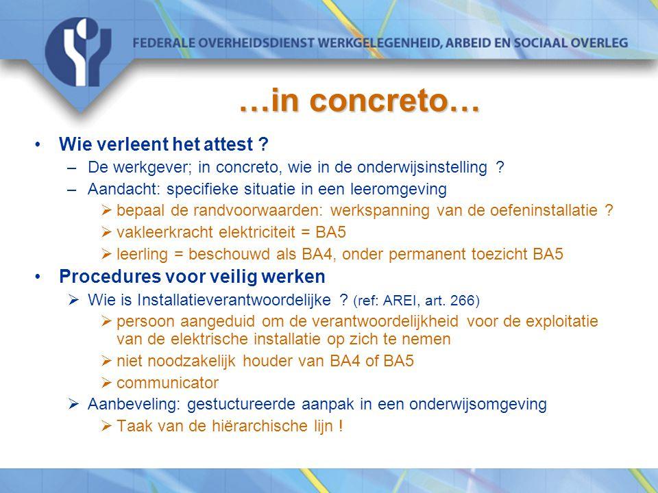 …in concreto… Wie verleent het attest Procedures voor veilig werken