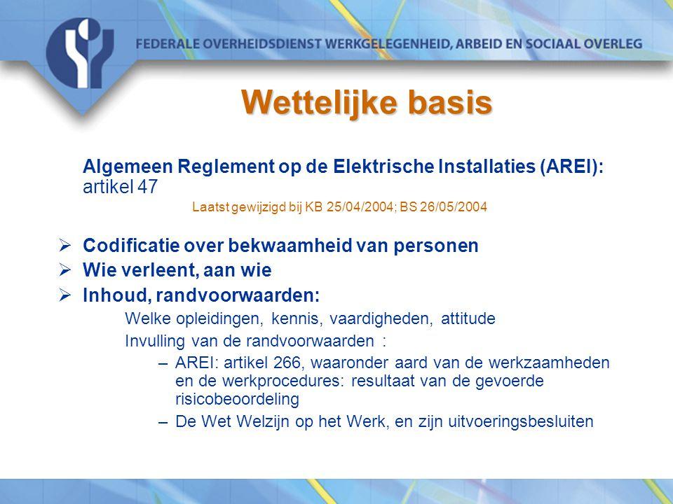 Wettelijke basis Algemeen Reglement op de Elektrische Installaties (AREI): artikel 47. Laatst gewijzigd bij KB 25/04/2004; BS 26/05/2004.