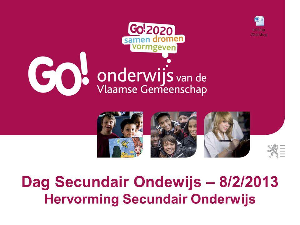 Dag Secundair Ondewijs – 8/2/2013 Hervorming Secundair Onderwijs