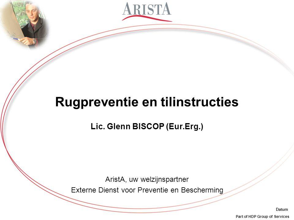 Rugpreventie en tilinstructies Lic. Glenn BISCOP (Eur.Erg.)
