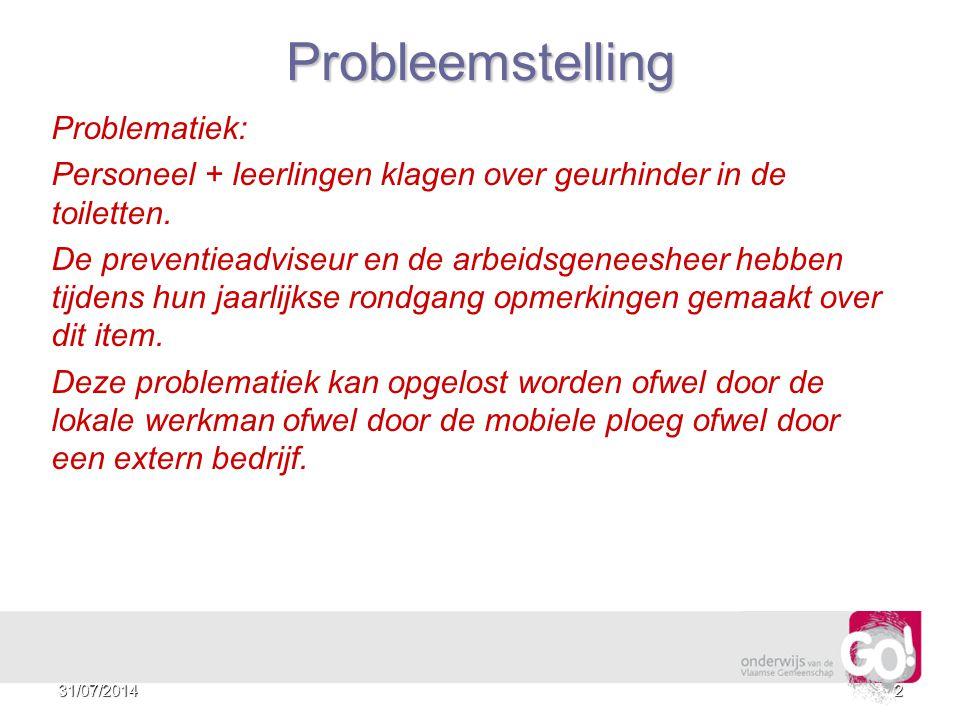 Probleemstelling Problematiek: