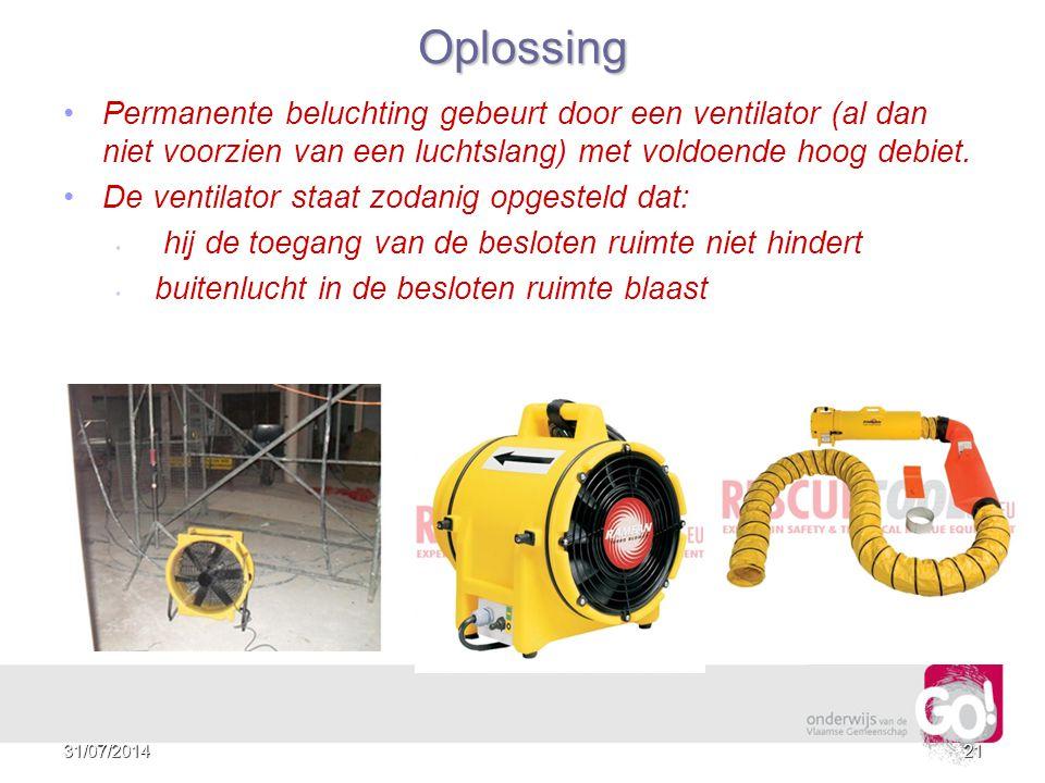 Oplossing Permanente beluchting gebeurt door een ventilator (al dan niet voorzien van een luchtslang) met voldoende hoog debiet.