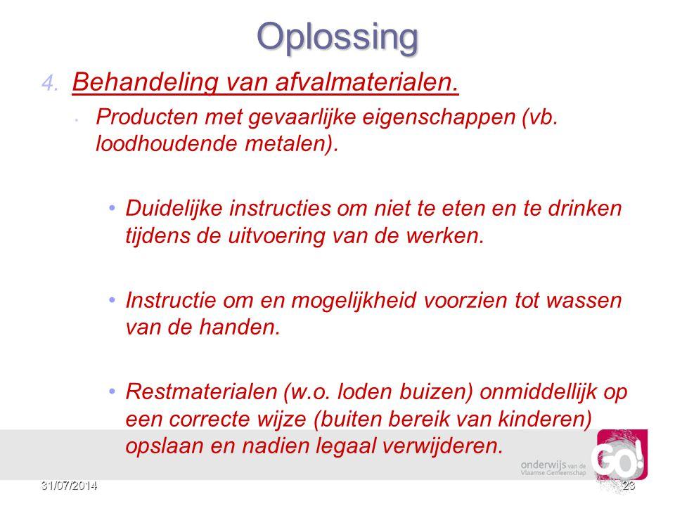 Oplossing 4. Behandeling van afvalmaterialen.