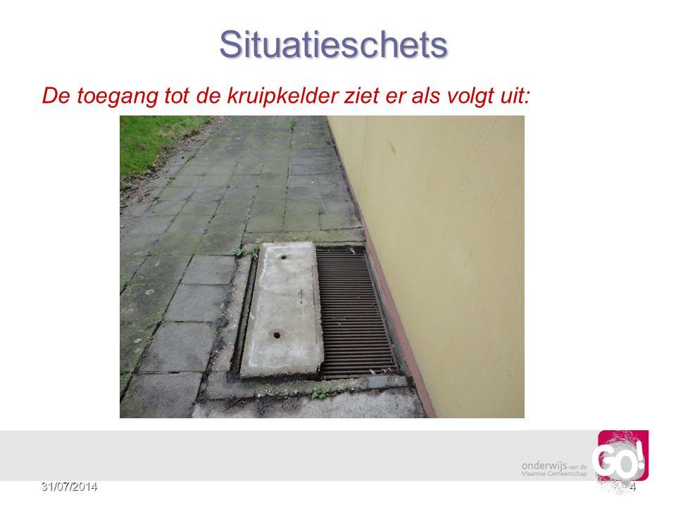 Situatieschets De toegang tot de kruipkelder ziet er als volgt uit: