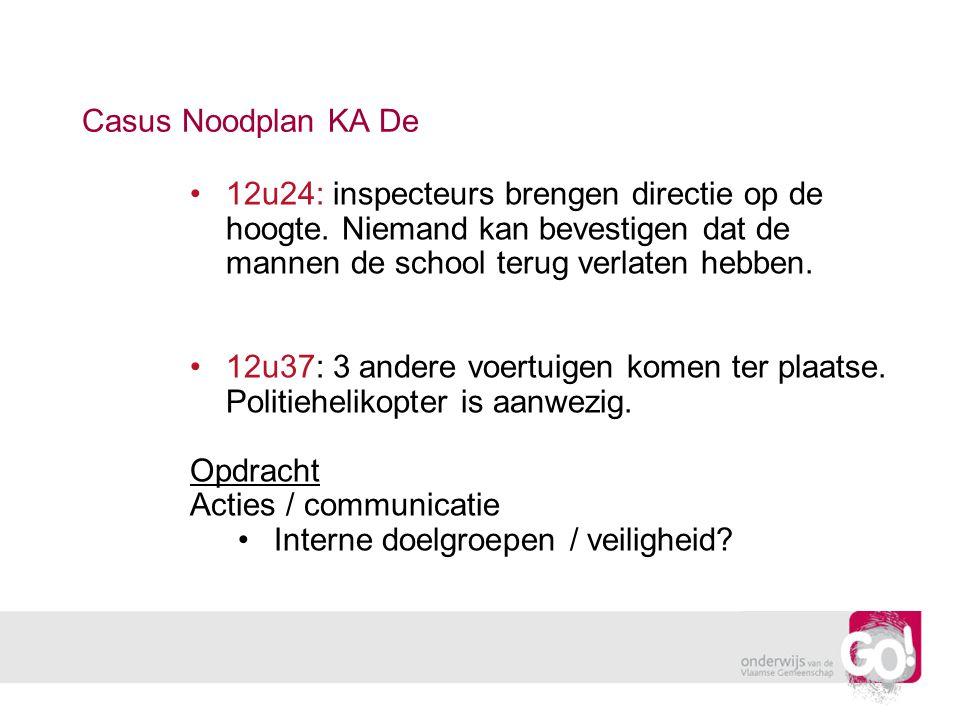 Casus Noodplan KA De 12u24: inspecteurs brengen directie op de hoogte. Niemand kan bevestigen dat de mannen de school terug verlaten hebben.