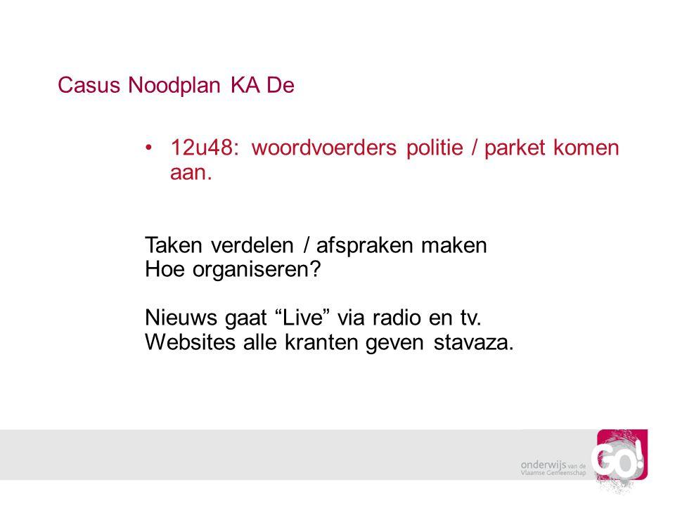 Casus Noodplan KA De 12u48: woordvoerders politie / parket komen aan. Taken verdelen / afspraken maken.