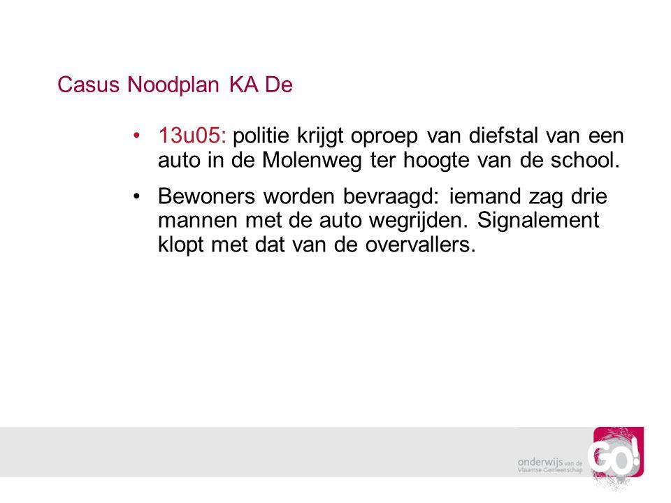 Casus Noodplan KA De 13u05: politie krijgt oproep van diefstal van een auto in de Molenweg ter hoogte van de school.