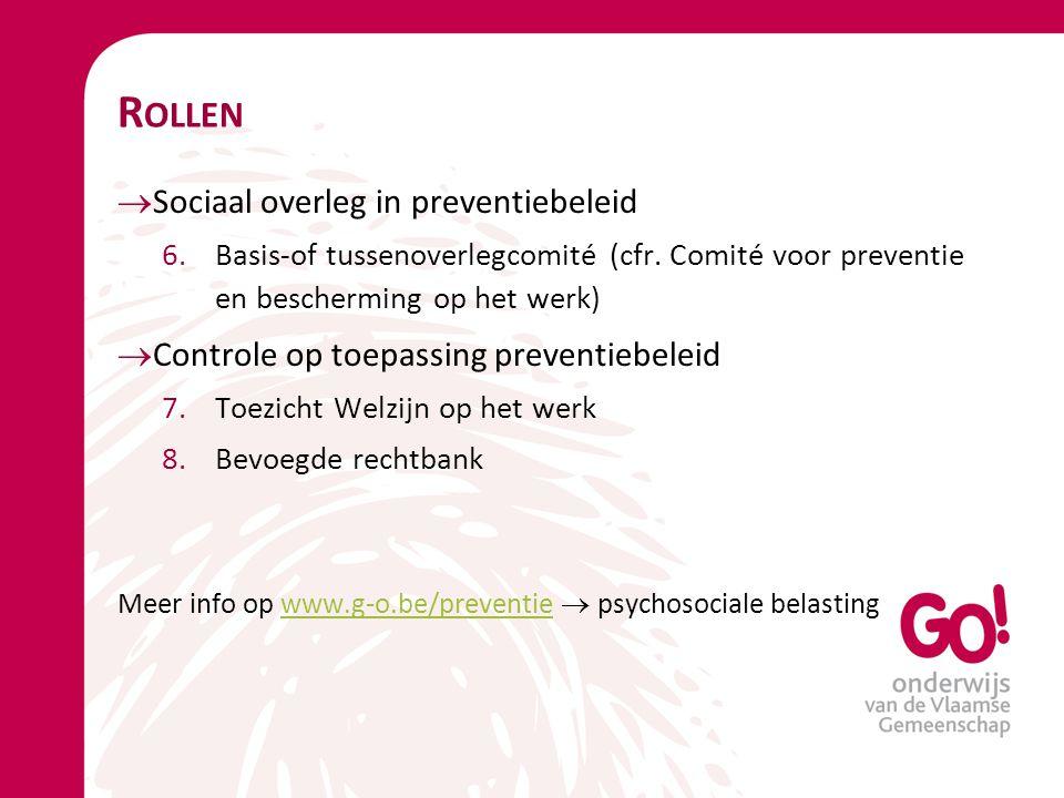 Rollen Sociaal overleg in preventiebeleid