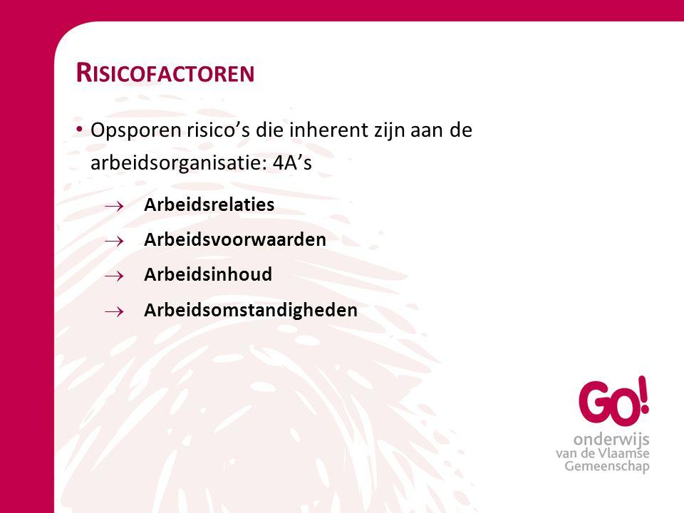 Risicofactoren Opsporen risico's die inherent zijn aan de arbeidsorganisatie: 4A's. Arbeidsrelaties.