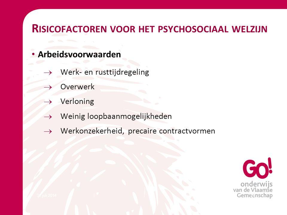 Risicofactoren voor het psychosociaal welzijn