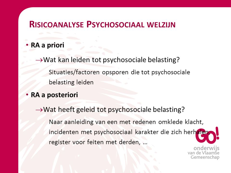 Risicoanalyse Psychosociaal welzijn