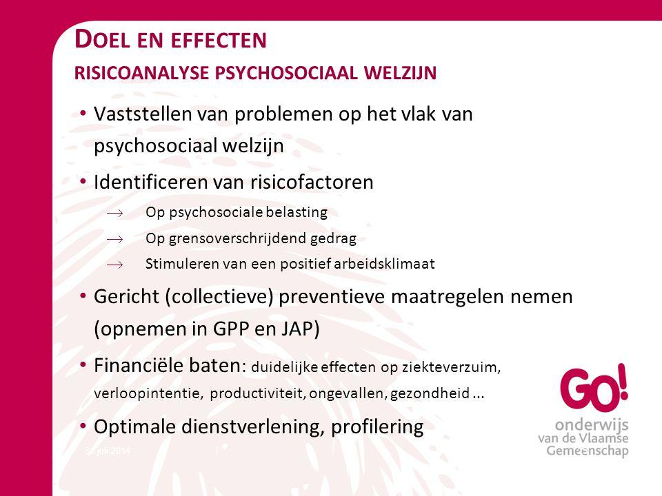 Doel en effecten risicoanalyse psychosociaal welzijn