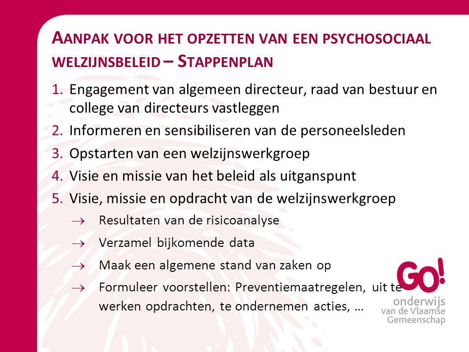 Aanpak voor het opzetten van een psychosociaal welzijnsbeleid – Stappenplan