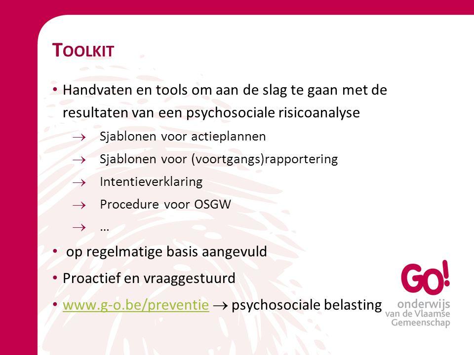 Toolkit Handvaten en tools om aan de slag te gaan met de resultaten van een psychosociale risicoanalyse.