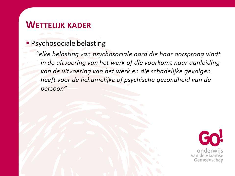 Wettelijk kader Psychosociale belasting