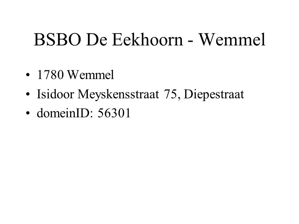 BSBO De Eekhoorn - Wemmel