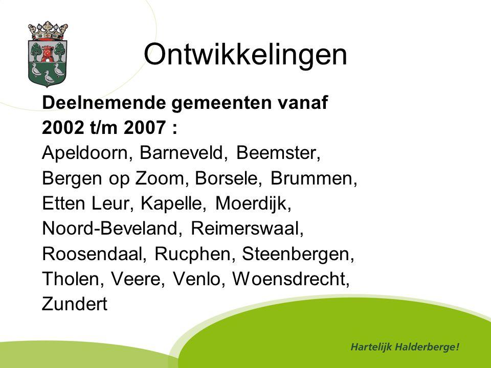 Ontwikkelingen Deelnemende gemeenten vanaf 2002 t/m 2007 :