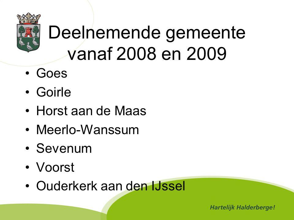 Deelnemende gemeente vanaf 2008 en 2009