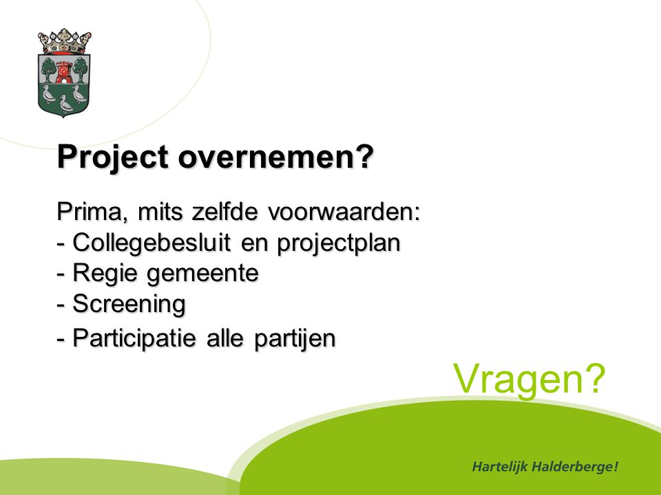 Project overnemen.