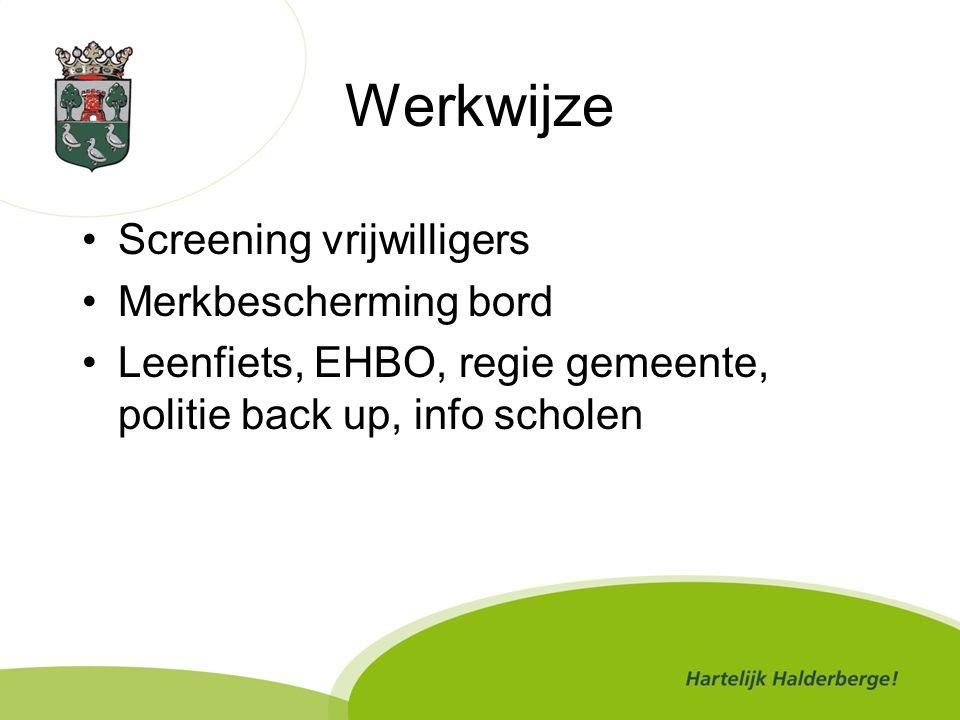 Werkwijze Screening vrijwilligers Merkbescherming bord