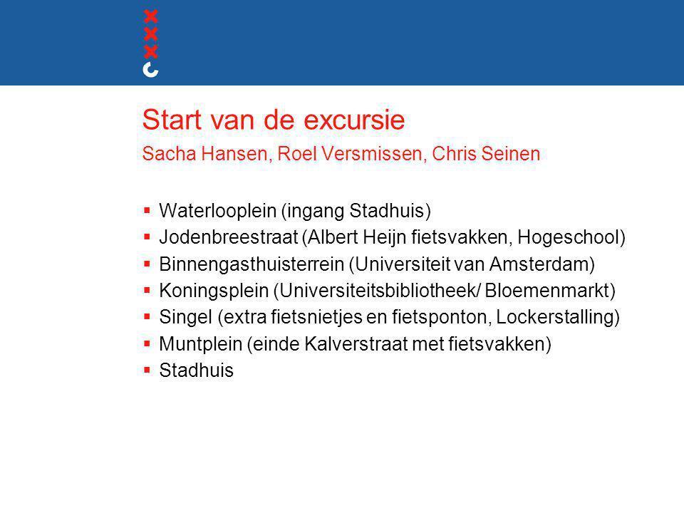 Start van de excursie Sacha Hansen, Roel Versmissen, Chris Seinen