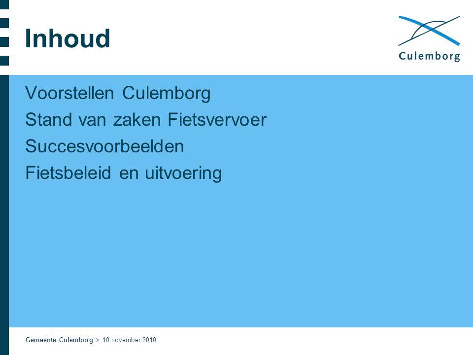 Inhoud Voorstellen Culemborg Stand van zaken Fietsvervoer