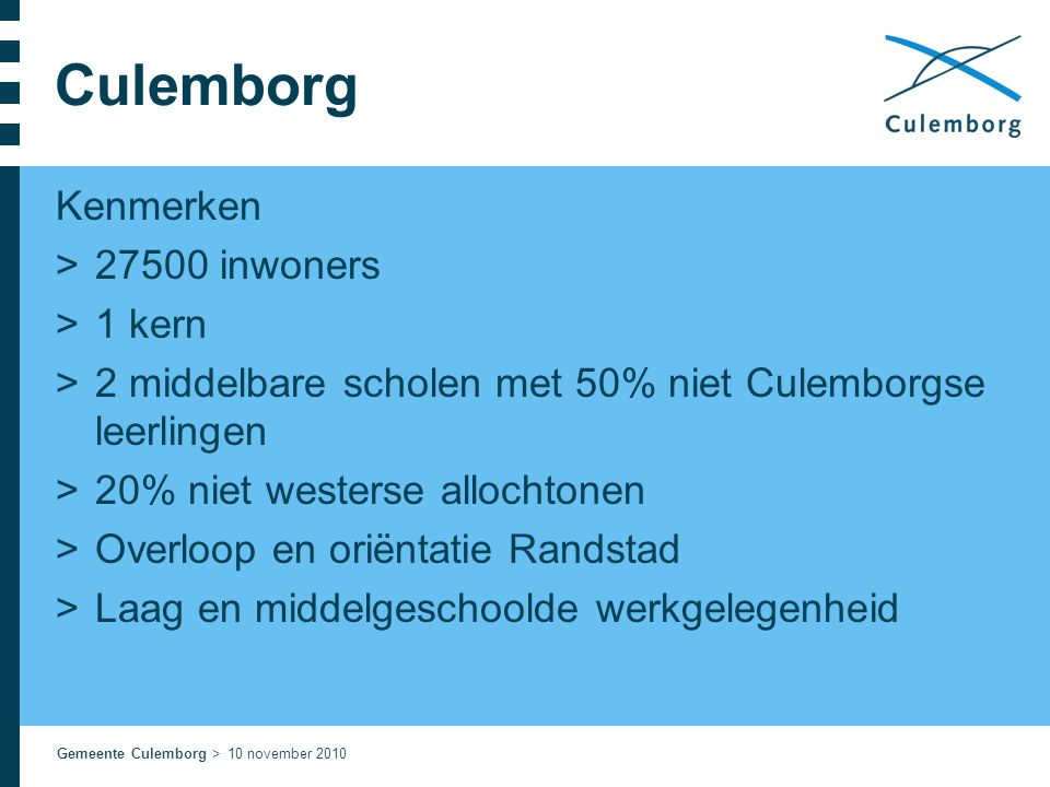 Culemborg Kenmerken 27500 inwoners 1 kern