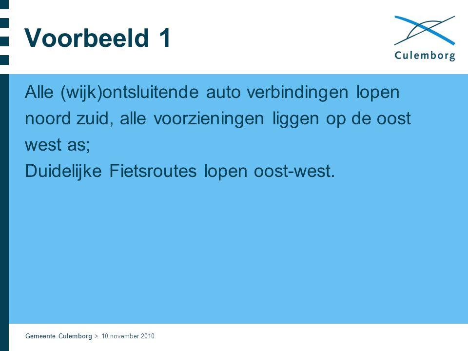 Voorbeeld 1 Alle (wijk)ontsluitende auto verbindingen lopen